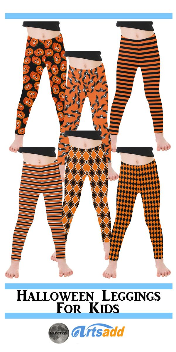 Cute Halloween Leggings for kids! Traditional Black and Orange Colored Leggings designed for Trick-or-Treating at Artsadd! #Gravityx9 Designs