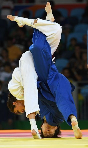 #TOPSHOT Israel's Yarden Gerbi competes with Japan's Miku Tashiro during their women's 63kg judo contest bronze medal A match of the Rio 2016 Olympic...