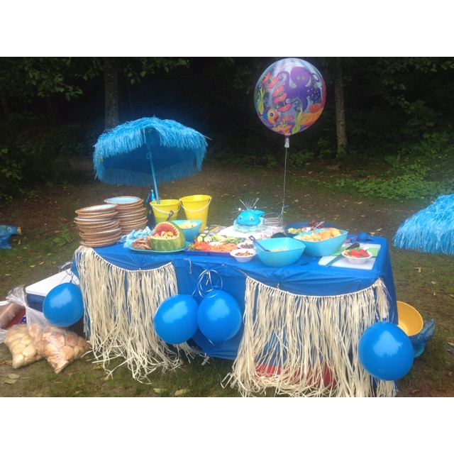 Beach themed snack and cake table...at the beach!!