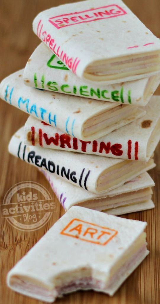 School Book Sandwiches ~ so cute and so easy to make... a perfect healthy snack to bring to your kid's classroom, but they can be personalized for any occasion. Add the name of your child's favorite book for a book themed birthday party or just for lunch.