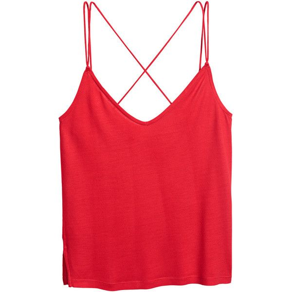 H&M Jersey Camisole Top $4 (15 SAR) ❤ liked on Polyvore featuring tops, slit tops, red cami, h&m tops, red cami top and cami top