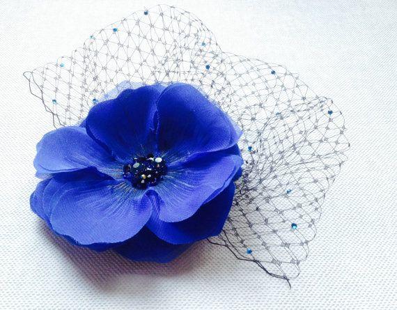 Blu cobalto birdcage Veil velo di fard nuziale di JewelryWithTaste