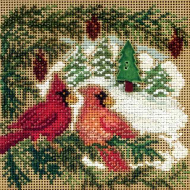 Stitched Area of Cardinal Forest Cross Stitch Kit Mill Hill - $10.99