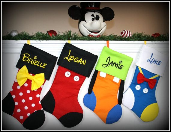 ***THIS LISTING IS FOR ONE CHARACTER STOCKING OF YOUR CHOICE. Personalization of each stocking is FREE! Characters currently available: Please add your character choice and name to be embroidered in the notes to seller section during checkout. Mickey Minnie Donald Daisy Goofy Pluto Sorcerer Mickey Tinkerbell Ariel Aurora (Sleeping Beauty) Belle Rapunzel Cinderella Snow White Mulan Jasmine Elsa Anna Olaf Merida Mike (Monsters, Inc) Sulley (Monsters, Inc) Woody Buzz Lightyear Robin Hood Mr…