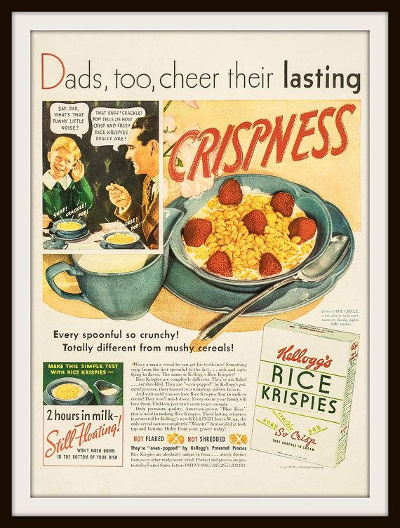 1939 Kellogg's rice Krispies Advertisement. Vintage Kellogg's ad, Vintage Rice Krispies ad, Vintage cereal ad.