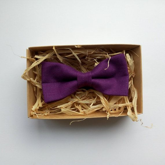 Dark purple bow tie /  Linen Pre-Tied and by ArtOfLithuania