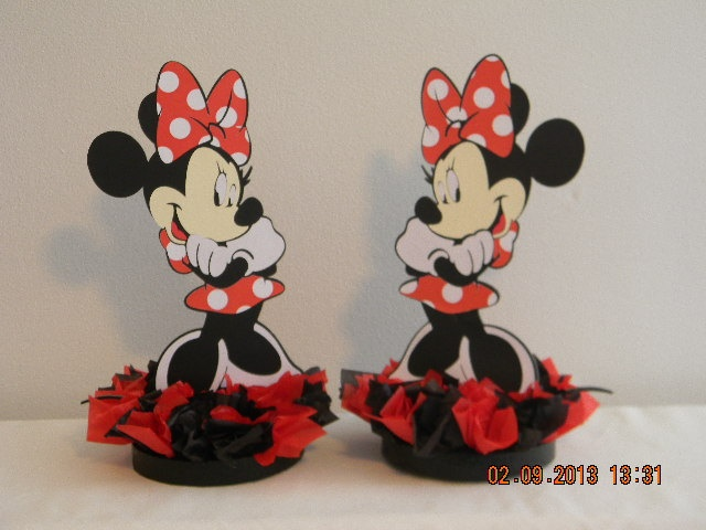 Red minnie mouse centerpieces by keepsaketoppers on etsy