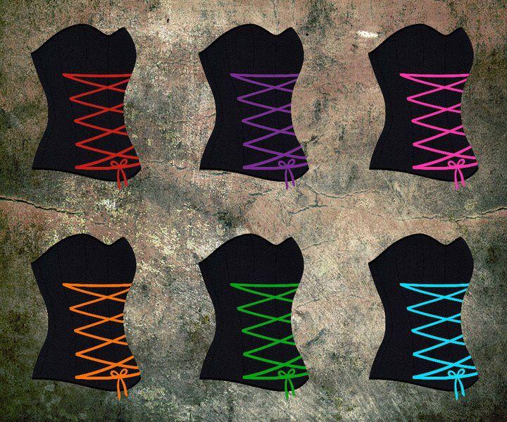 Satin ribbon detailing colour options for the Laksmi full corset.
