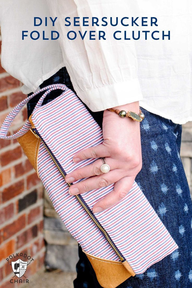 DIY Seersucker and Leather Fold Over Summer Clutch Sewing Pattern & Free Tutoria...