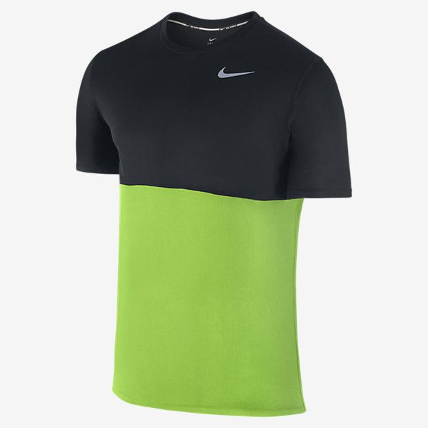 COOL COMFORT The Nike Dry Men's Short Sleeve Running Top is made with lightweight Dri-FIT fabric and mesh panels to help keep you comfortable over any distance. Benefits Dri-FIT fabric helps keep you dry and comfortable Rib crew neck with interior taping for comfort and durability Mesh panels for excellent breathability Flat seams move comfortably against the skin Product Details Fabric: Dri-FIT 100% recycled polyester Machine wash Imported