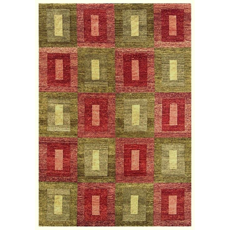 Noble House Legacy Green and Rusty Red Hand-knotted Wool Rug (4' x 6') (Green-Rust), Size 4' x 6'