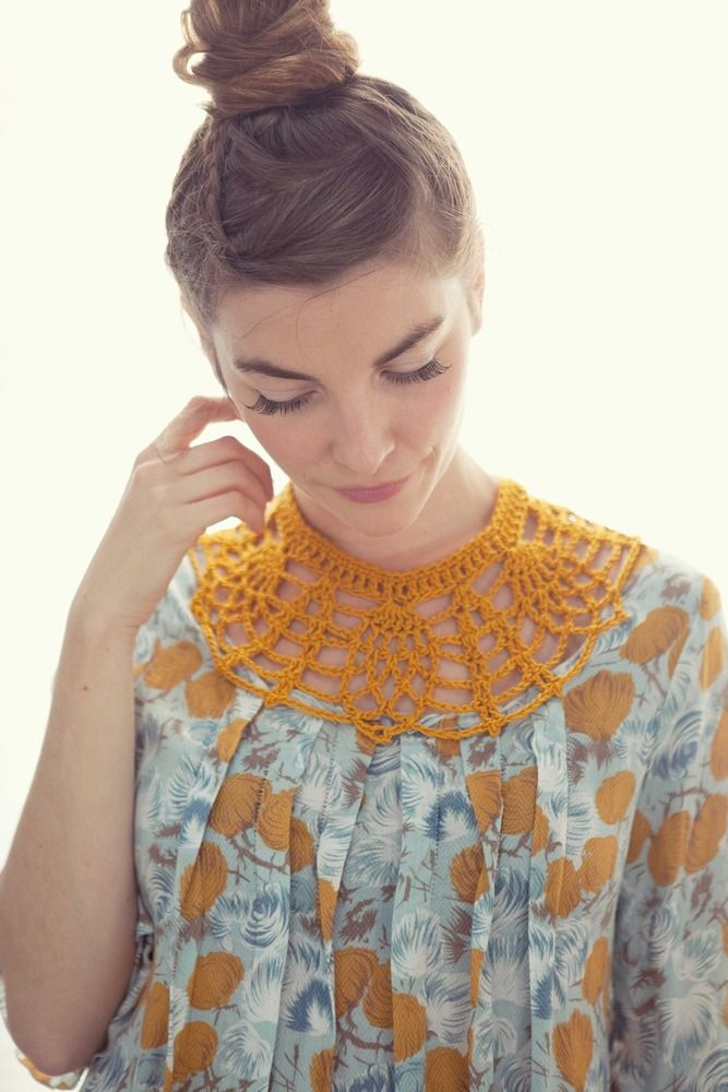 love! What a fabtastic way to 'repair' vintage blouses with damaged or stained neckline.