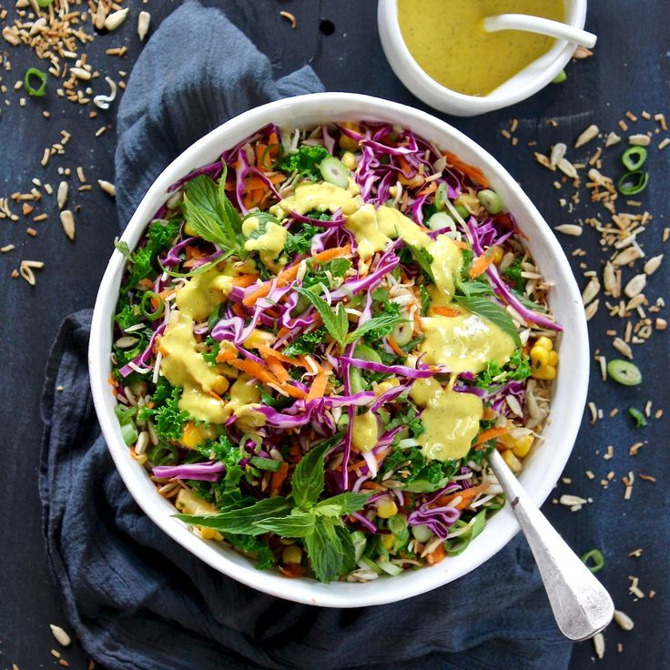 DETOX RAINBOW SALAD BY CARLA MCMILLAN FROM BODYPASS. Here is an energy lifting, antioxidant rich salad that will make your body glow from the inside out! Packing the goodness of kale, corn, purple cabbage, sunflower seeds and shredded coconut all dressed in a tahini and tumeric dressing! 20 Minutes. Vegetarian. Gluten Free. Sugar Free. Dairy Free.