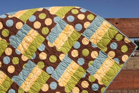 alternating squares and 3 stripe block - replace dots with duckies for gender neutral quilt?