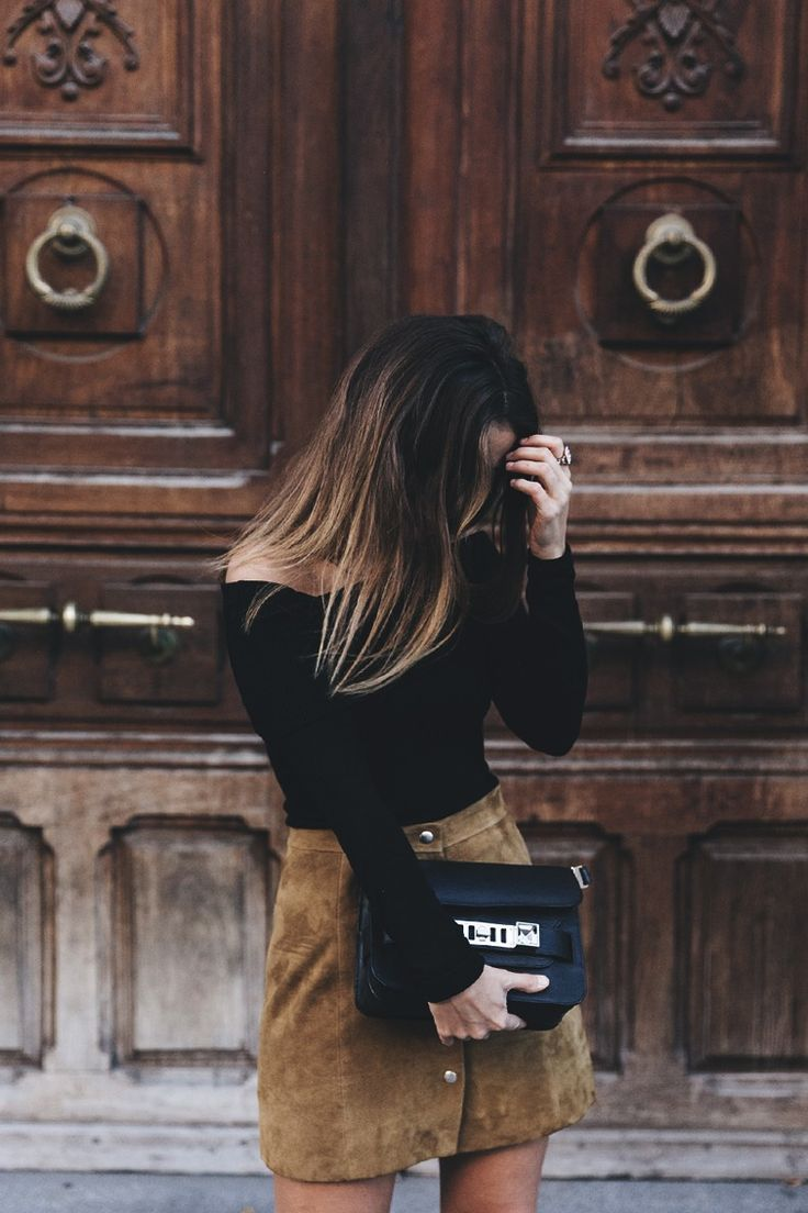 High_Boots-Suede_Skirt-Iro_Paris-Black_Jacket-Off_The_Shoulders_Sweater-Outfit-Street_Style-9