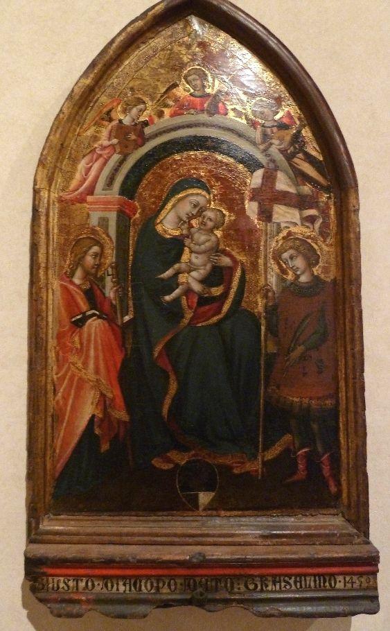 Приамо делла Кверча. Мадонна с младенцем и святыми Яковом и Виктором. 1450 г., Вольтерра, Пинакотека.
