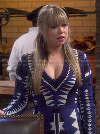 Kristin's blue geometric print long sleeve dress on Last Man Standing.  Outfit Details: http://wornontv.net/47590/ #LastManStanding