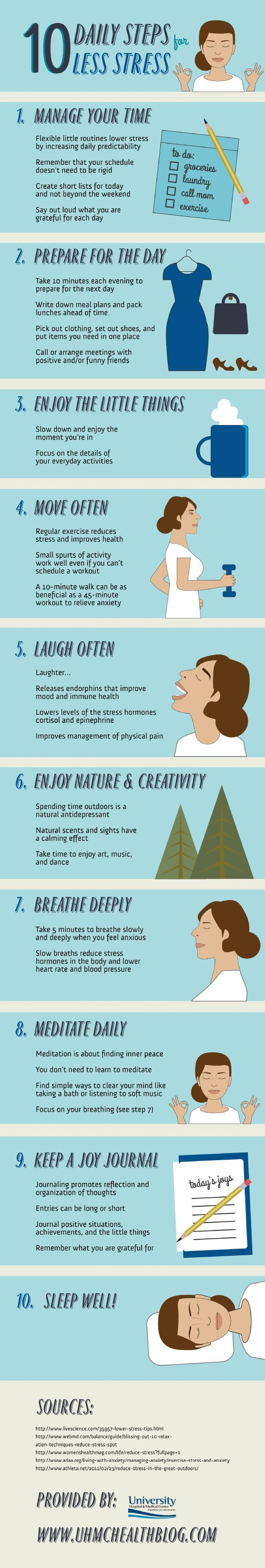 Find yourself getting stressed? Here are 10 daily steps for less stress.
