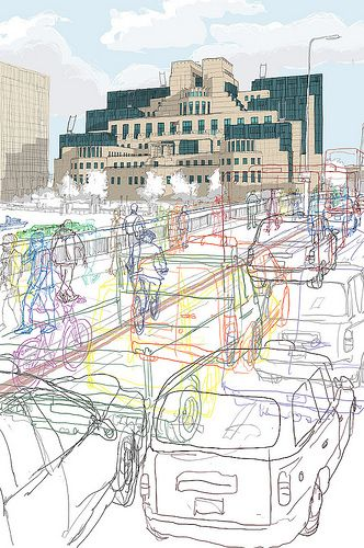 Secret London MI6 2012. Chosen for Serco Prize. London Transport museum maybe google sketchup 3D. i like the outline on the people and taxis.