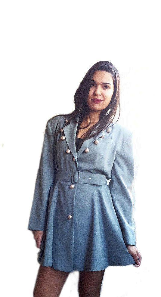 Party Blazer Elegant Jacket Cocktail Party Coat Placid Blue Vintage 80s Fashion