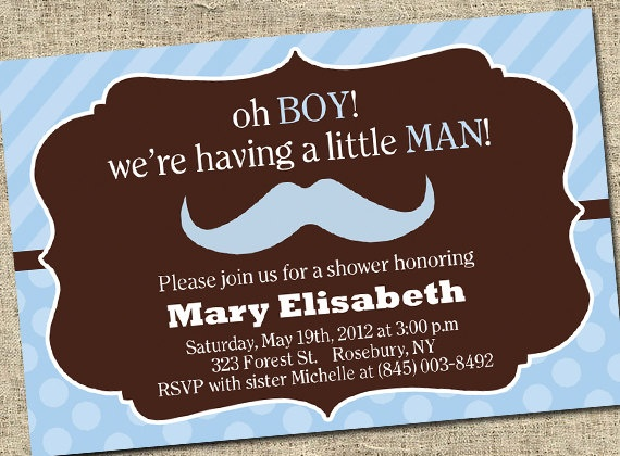 Oh Boy Mustache Baby Shower Invitation  Little by SugartreePrints, $12.00