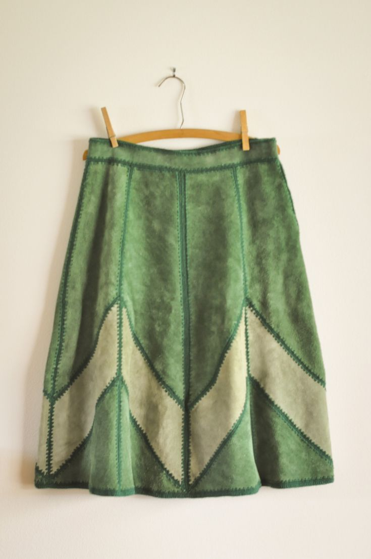 Vintage Shades of Green Suede Skirt by drowsySwords on Etsy
