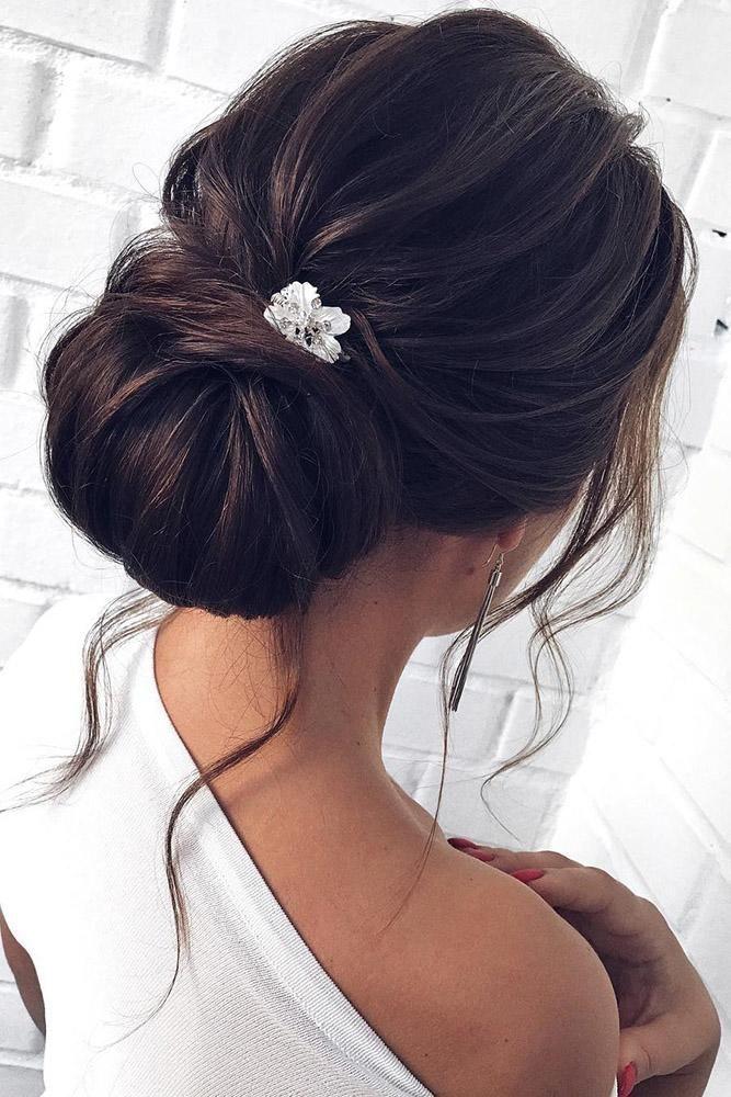 30 Top Wedding Updos For Medium Hair ❤️ wedding updos for medium hair on black hair chignon bun with loose curls mpobedinskaya #weddingforward #wedding #bride #weddinghair #weddingupdosformediumhair