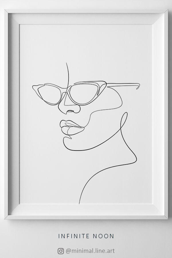 Frau mit Brille druckbare Wandkunst, abstrakte Gesicht Sonnenbrille Kunstwerk, eine …   – Therapy office
