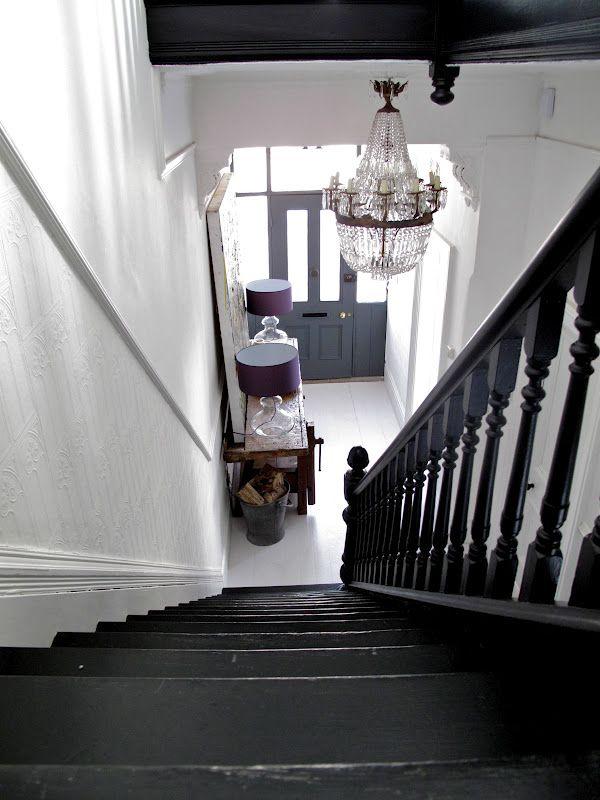 Black stair white wall