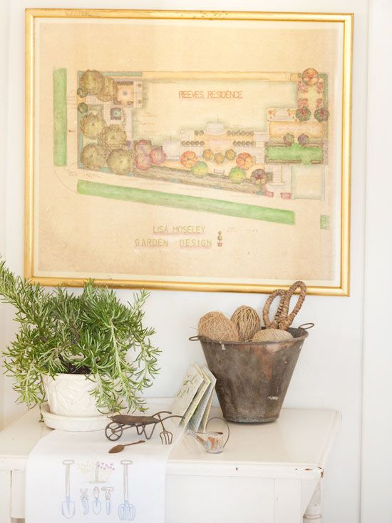 Use vintage landscape blueprints as wall art to grow an area of garden-themed decor: http://www.bhg.com/decorating/home-accessories/wall-art/art-for-walls/?socsrc=bhgpin100714layingtheplans&page=8
