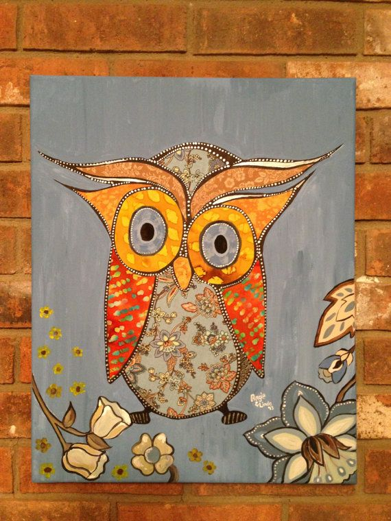 Original Mixed Media Owl Painting With Fabric On By