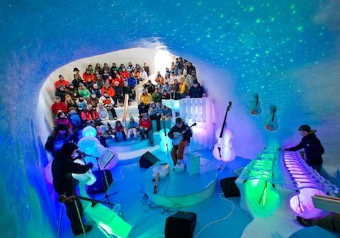Located in the Sangre de Cristo mountains of northern New Mexico at the center of the Enchanted Circle in Taos Ski Valley is The Celestial Sphere — a concert and performance hall made of ice.  On my list to see for my next trip!