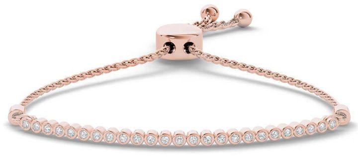 Zales 1/10 CT. T.w. Diamond Bar Bolo Bracelet in Sterling Silver with 14K Rose Gold - 9.0 VsMXC