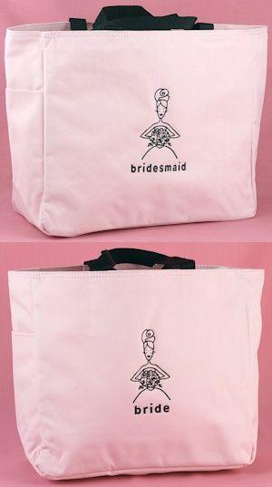 Pink and Black Bridal Party Totes image