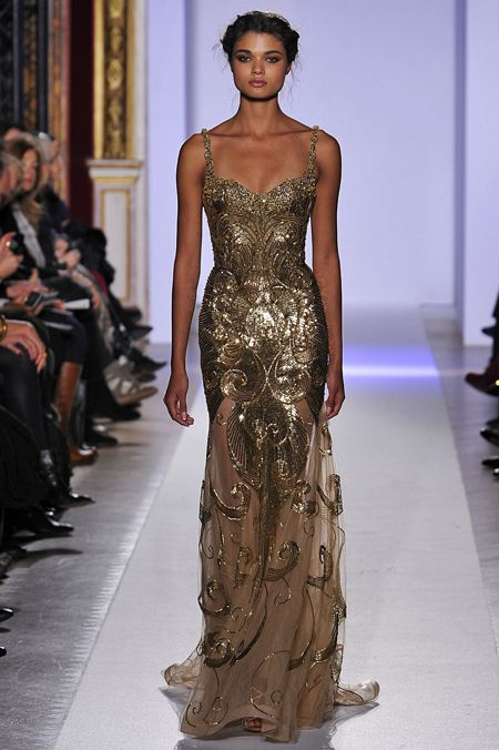 Patricia Bonaldi golden textured gown.