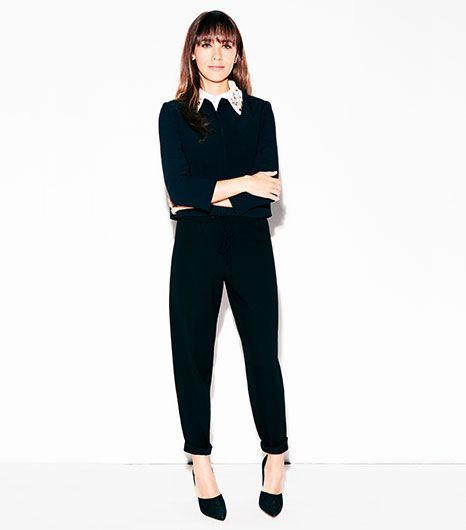black + black + embellished collar // Rashida Jones