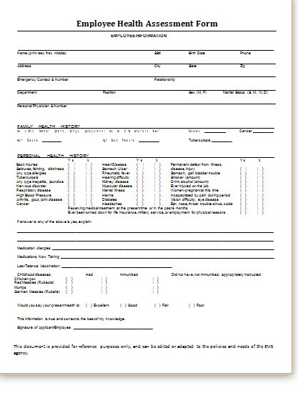 Health Assessment Form at http\/\/wwwbestmedicalforms\/health - hr complaint form