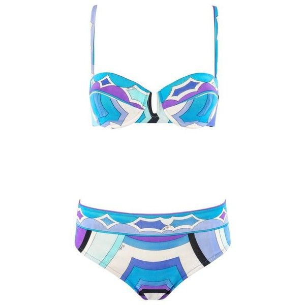 EMILIO PUCCI c.1960's Blue Signature Print Two Piece Bikini Bathing... ($864) ❤ liked on Polyvore featuring swimwear, bikinis, swim suits, vintage bathing suits, two piece swimsuits, vintage two piece bathing suits and 2 piece swimsuits