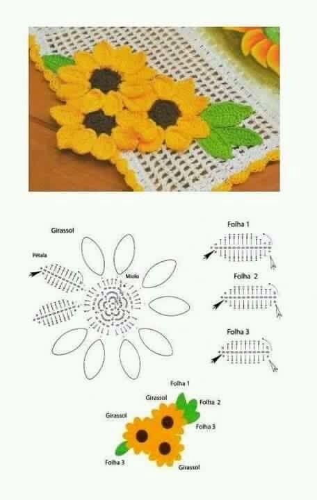 Sonnenblume gehäkelt
