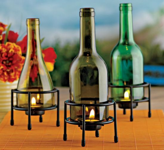 Tealight Holders Recycled Wine Bottle