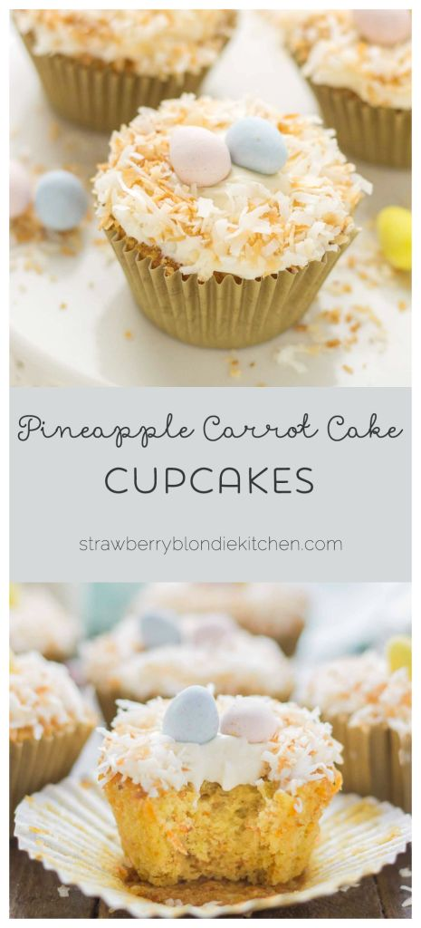 Pineapple Carrot Cake Cupcakes are deliciously moist and the perfect way to celebrate Spring!   Strawberry Blondie Kitchen