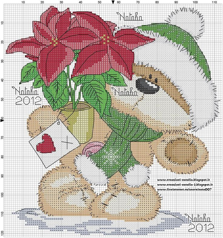 Cross-stitch Fizzy Moon Christmas, part 2... color chart on part 1... Cross stitch *<3* Point de croix Noël