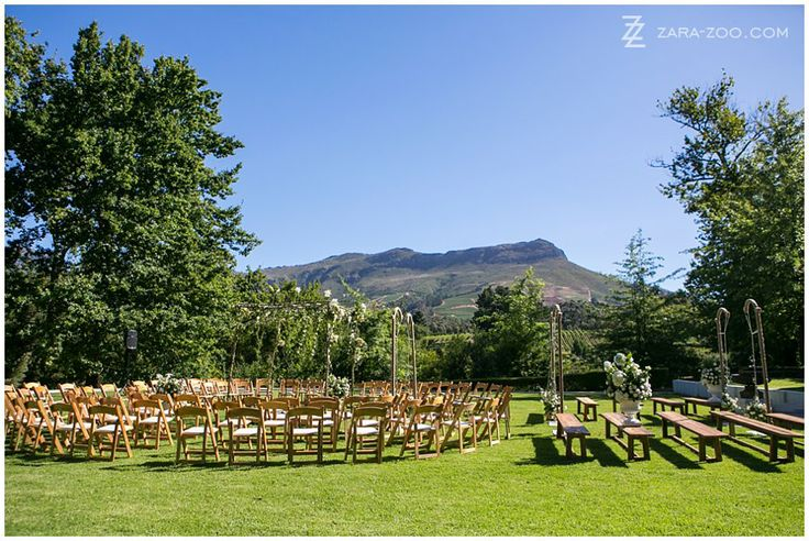 #WeddingCeremony setup at MolenVliet Wine and Guest Estate in #Stellenbosch.  Molenvliet is one of the top 10 #weddingvenues in #CapeTown.  Read our full venue review on the ZaraZoo Blog http://www.zara-zoo.com/blog/molenvliet-venue-review/