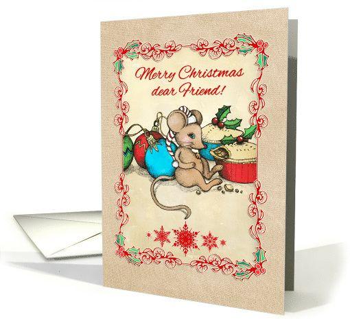 Merry Christmas dear Friend, cute mouse illustration, love, joy