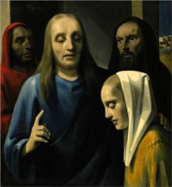 """Christ with the Woman Taken in Adultery"" Han van Meegeren, c. 1943, was a forgery passed off as a painting by 17th-century artist Johannes Vermeer. It was purchased by Hermann Göring (Hitler's Reich Marshal, who was determined to get his own Vermeer after ceding one to his Fuehrer). Hitler had purchased ""The Art of Painting,"" a genuine Vermeer, and Göring, wanted his own to add to his personal art collection. He ended up paying over to $6 million dollars (in today's money) for this ugly…"