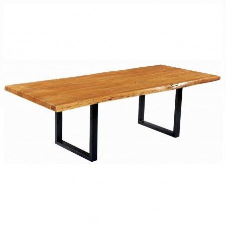 Table à dîner Organic en bois d'Acacia et pied en métal U - Kif-Kif Import