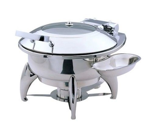 Medium Round Chafing Dish with Glass Lid, Base, Heater and Spoon Holder