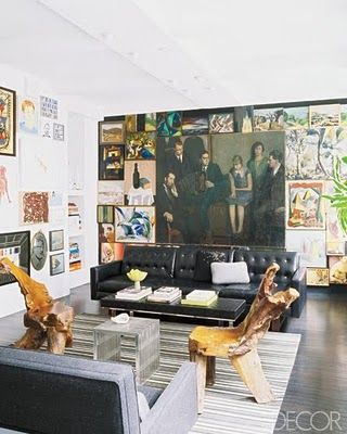 WAAAAY to cool for school. love this room: Interior Design, Ideas, Living Rooms, Leather Sofa, Livingroom, Gallery Wall, Art Walls, Manhattan Apartment