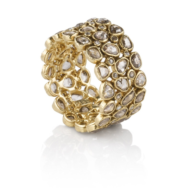 Rough Cut Diamond Yellow Gold Ring #Belloria