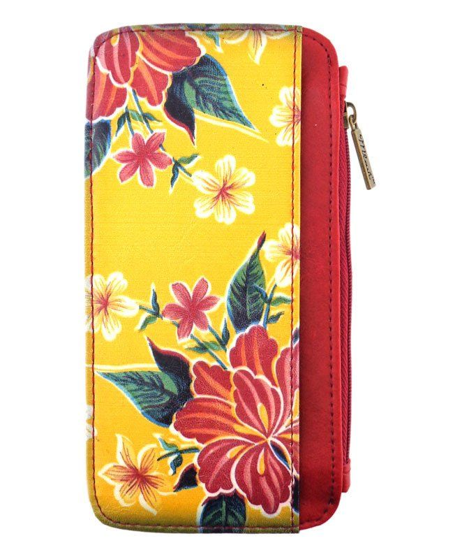 Vegan leather Mexican oilcloth inspired flora card holder / card case made with SGS Certified toxic-free Eco-friendly materials. It can carry cards, smart phone, coins & used as bag switcher